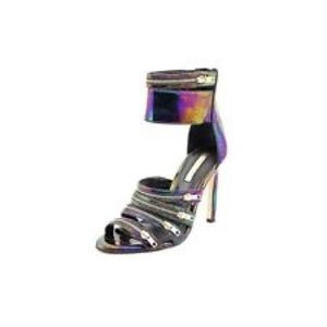 BCBG BLACK PATENT LEATHER OPEN TOE HEELS